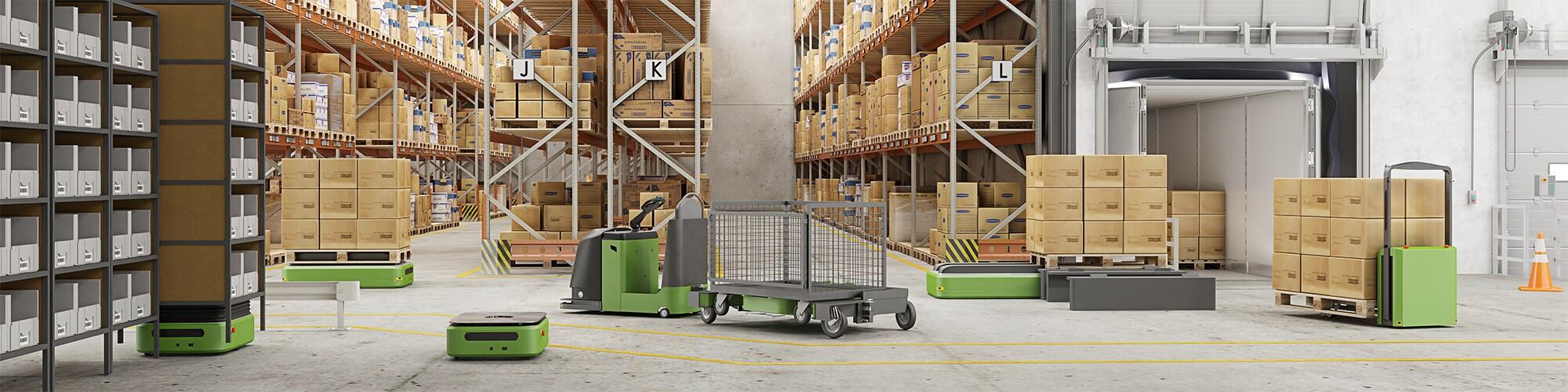 LINAK actuators in material handling applications such as autonomous mobile robots, tugger trains and pallet trucks.