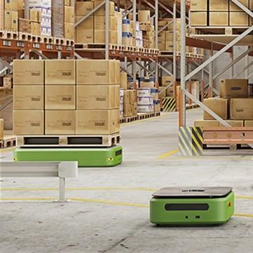 Otonom mobil robotlar, tugger train'ler ve forkliftler gibi malzeme yükleme ve taşıma uygulamalarında LINAK aktüatörler.
