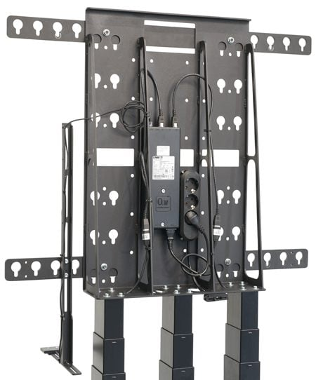 LINAK system med tre løftesøyler -  for tunge stativer til display og monitor.