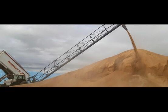 Ny bunker med kornskrue og nedløpsrør - Rodneys 2020
