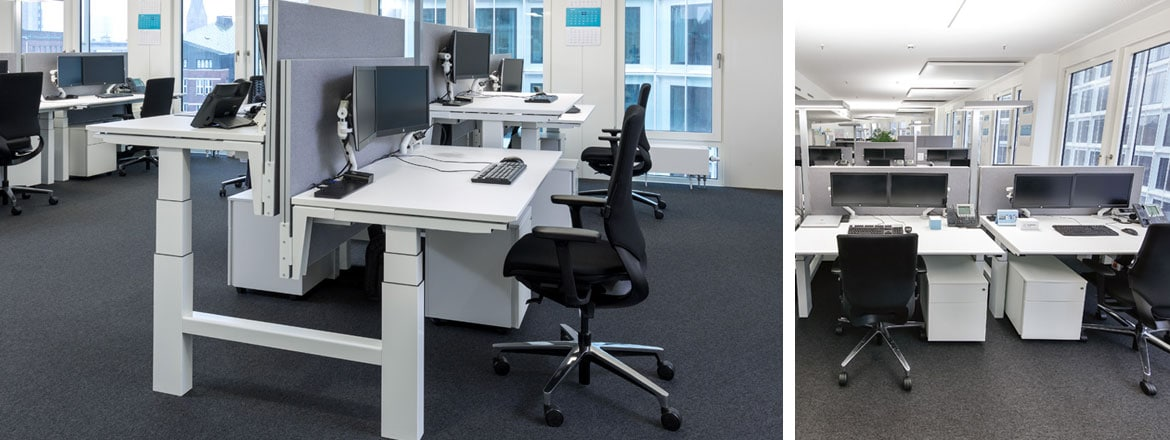 New office desk Office Furniture Table Linak Maersk Endorses Electric Height Adjustable Desks In Its New Offices