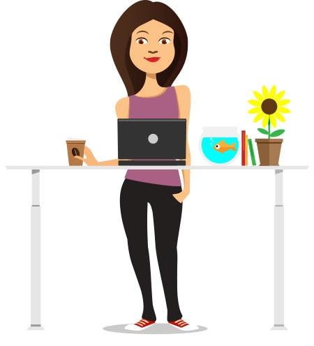 gesünder arbeiten am Steh-Sitz-Tisch