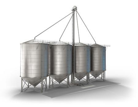 工业推杆的异物防护测试 - 谷物处理筒仓