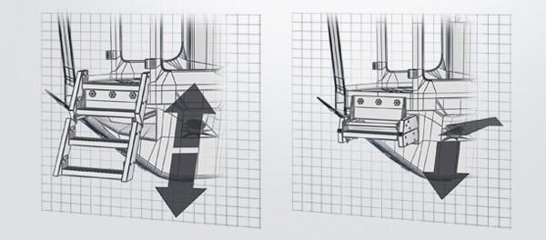 İnşaat makinelerinde merdivenlerin akıllı biçimde ayarlanması ergonomiyi geliştirmektedir