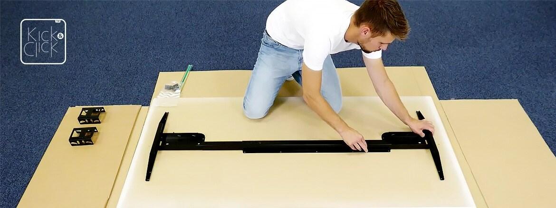 Montagem de mesas de escritórios rápida, fácil e intuitiva