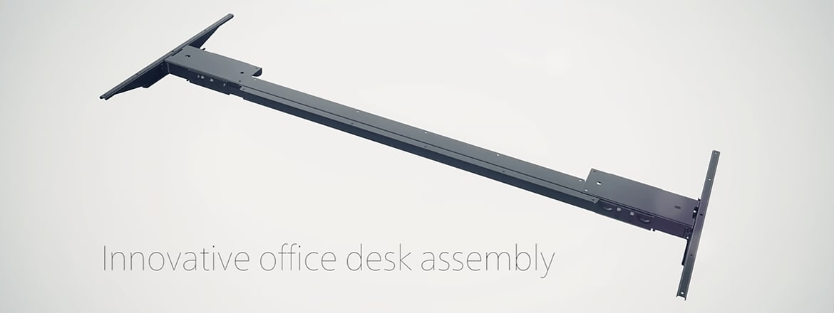 Innovative office desk assembly with Kick and Click