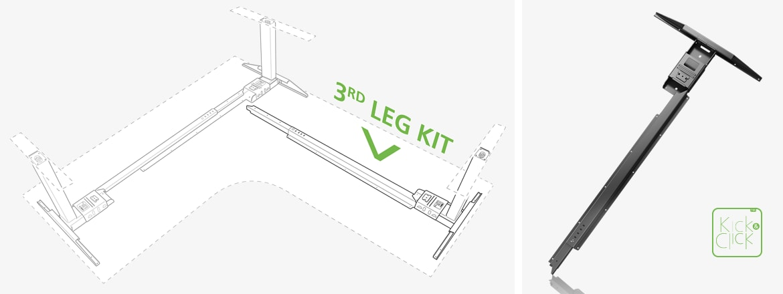 New solutions design 3 leg office desks with Kick & Click