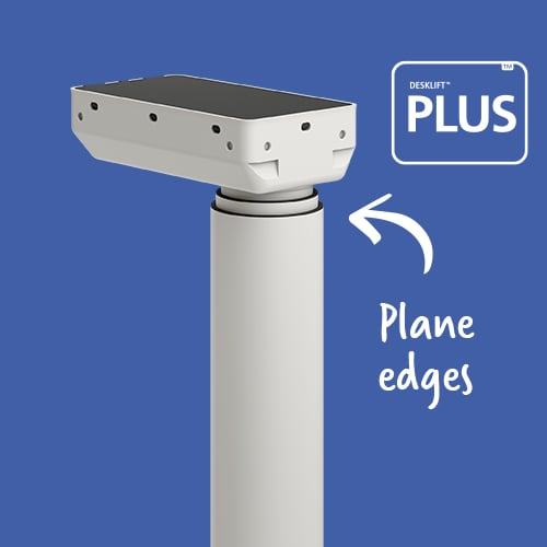 Round LINAK electric lifting column in clean design: available with trim rings. LINAK DL 11 PLUS.