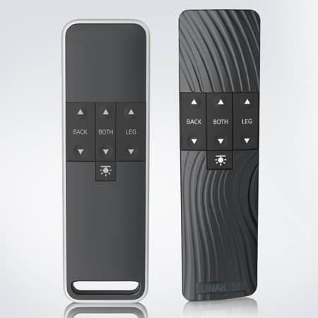 Versions Standard des commandes manuelles HC40 FRAME™ et HC40 TWIST™ pour lits de relaxation.