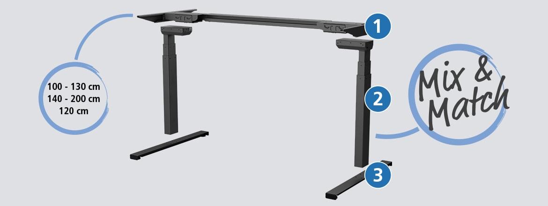 LINAK® Desk Frame 1 풀 프레임 솔루션은 커스터마이징이 가능한 3가지 SetPack 박스로 구성됩니다.