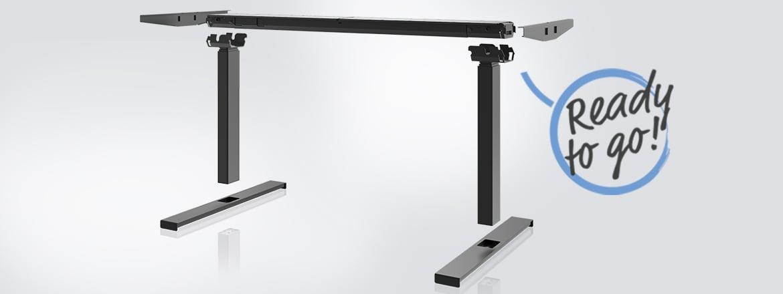 Desk Frame 2 is de intuïtieve complete frame-oplossing voor kantoorbureaus met 2 poten van LINAK®.
