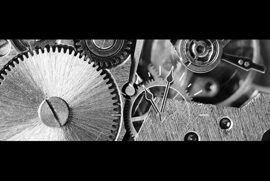 Cogwheels with clock face representing actuator life