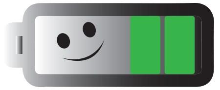 Alt text: Hold batterinivåindikatoren til HC40 Advanced lenger på grønt nivå