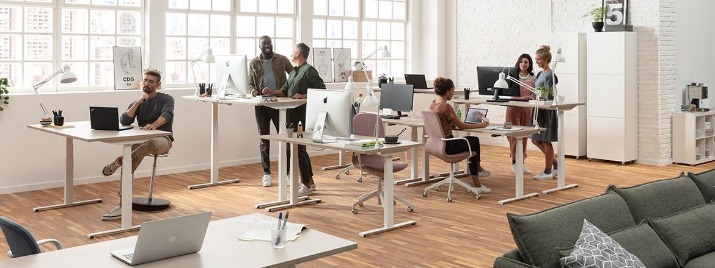 Kantoormedewerkers die staan en zitten aan ergonomische en verstelbare bureaus in modern kantoor