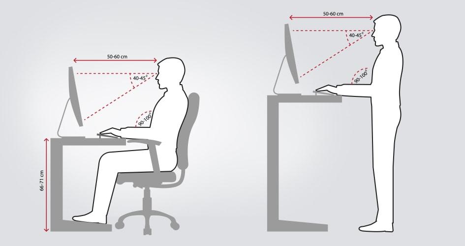 Illustratie die een kantoorwerker toont die zit en staat achter een in hoogte verstelbare tafel.
