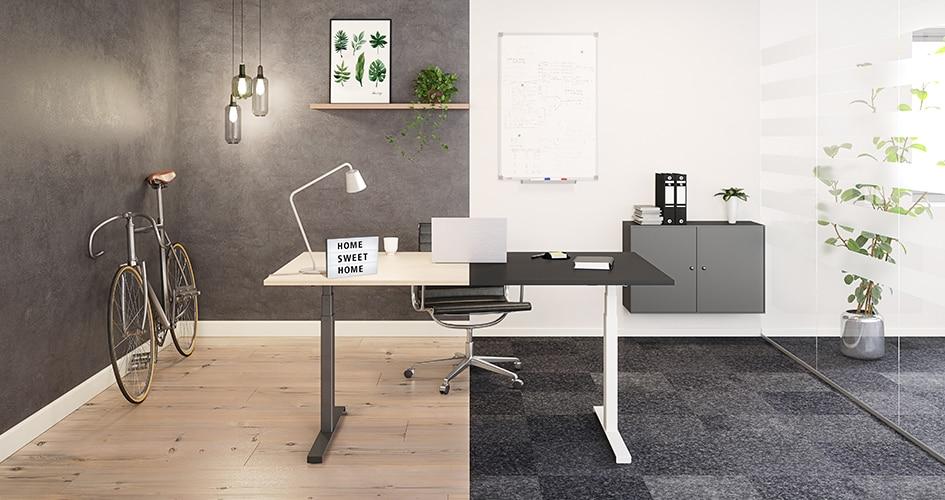 Fotocollage van een verstelbaar bureau in zowel een thuiskantoor als een bedrijfskantoor.