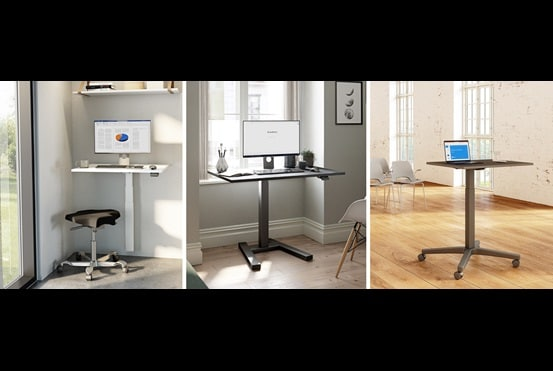 Small, adjustable office desks for small spaces. Improved ergonomics via one LINAK lifting column.
