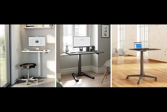 Pequeños escritorios regulables de oficina para espacios reducidos. Una ergonomía optimizada mediante una sola columna de elevación LINAK.