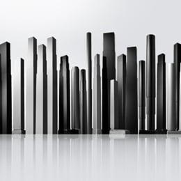 Skyline of lifting columns for electric adjustable office desks