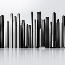 """En """"skyline"""" af løftesøjler til elektriske hæve-/sænkeborde"""