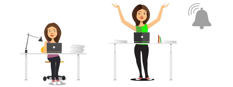 Официальный отчёт: напоминания помогают работникам учреждений пользоваться столами для работы сидя и стоя