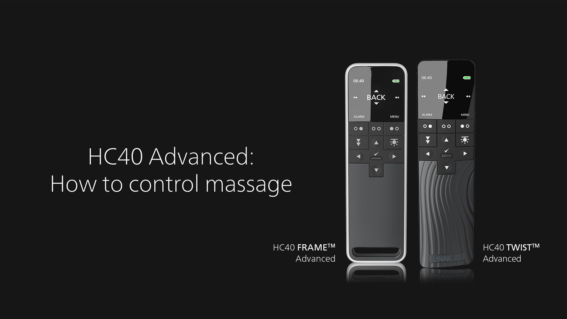 HC40 Advanced: Så här styr du massagefunktionen
