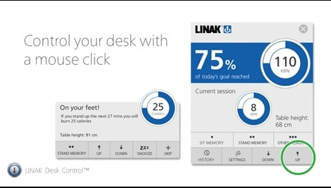 LINAK Desk Control - reminds you to stand up!
