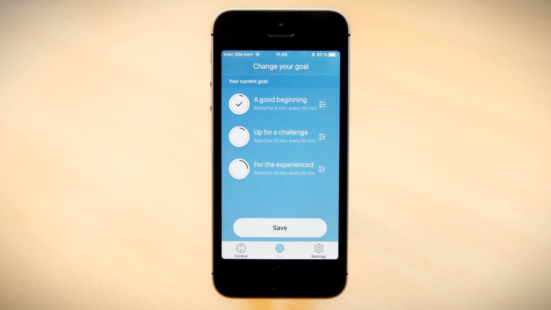 How to set goals and activate reminder notifications to stand up