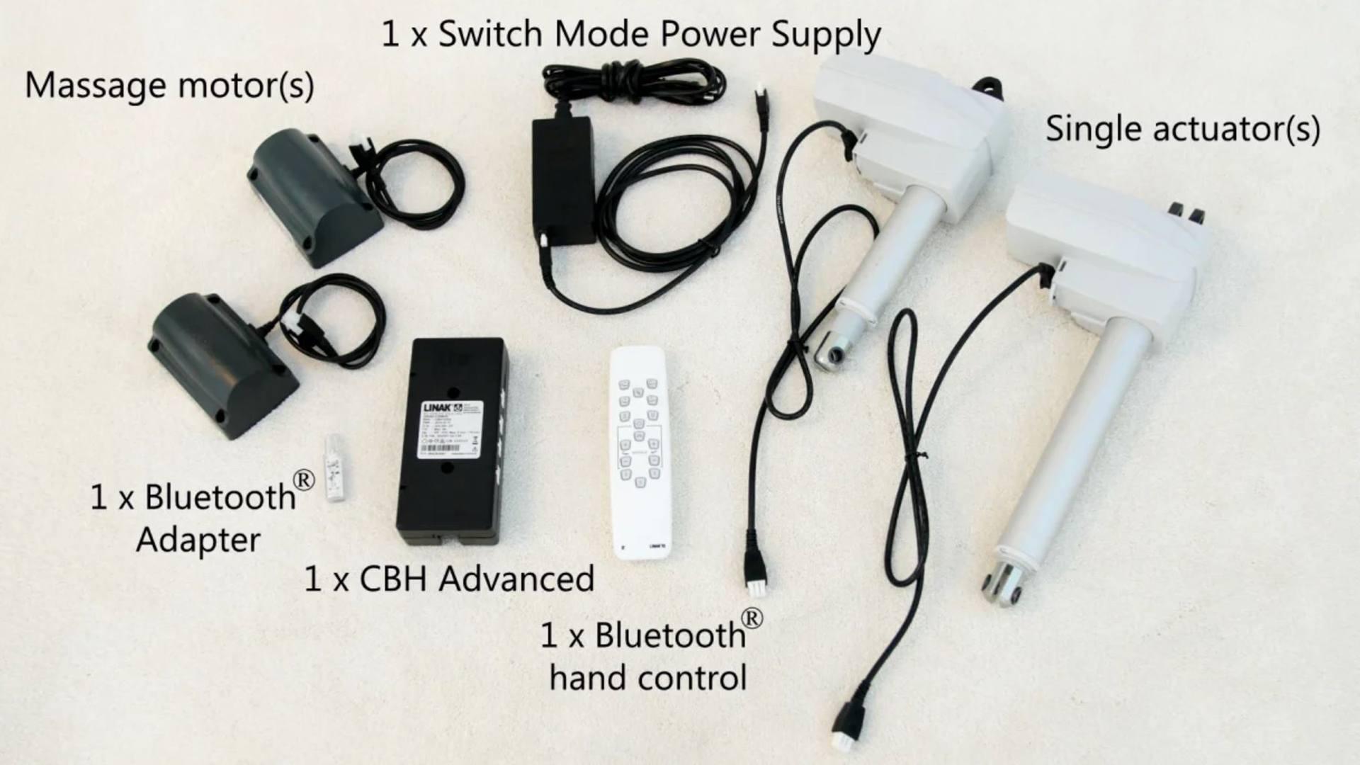 Opsætning af et LINAK® single aktuatorsystem med massagefunktion til din elevationsseng