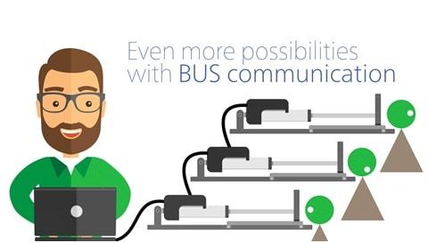 IC- ja BUS-väyläohjauksella voi seurata karamoottorien liikettä